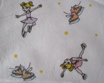 Ice Skater Skating Flannel Cotton Fabric 1yard