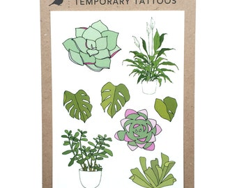 succulent / plant temporary tattoos - illustrated pot plants / house plants - realistic fake tattoo body art