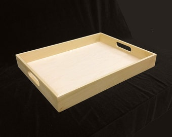 Unfinished  Wooden Serving Tray - 18 x 14 x2 1/4-unfinished wood box-ready to finish-engravable wood tray-personalized laser engraving