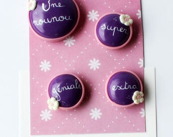 Set of 4 magnets super extra awesome nanny