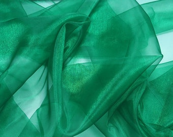 shiny iridescent organza fabric green, emerald green, teal sheer etherial bridal