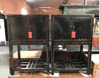 FREE SHIPPING WITHIN U.S.-Pair of Antique Chinese Cabinets in Distressed Black  (Los Angeles)