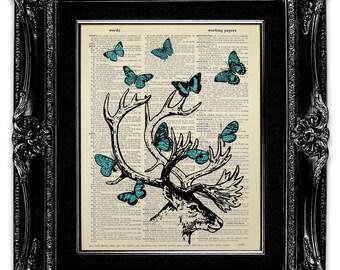 Office Decor, DEER Decor, Deer Print, Butterfly Print, OFFICE Wall Art, BUTTERFLY Wall Art, Deer Antler Wall Decor, Dorm Poster, Dorm Gift