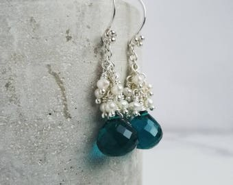Chandelier earrings - Teal Quartz with tiny ivory Freshwater Pearls on Sterling Silver