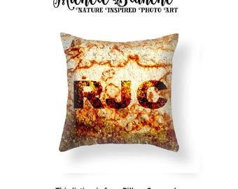 Personalized Rust Photo Throw Pillow, Custom Name Pillow case, Personalized Industrial Decor, Rust Toss Pillow, Edgy Rust Throw Pillow Cover