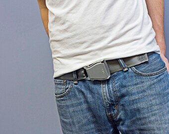 The Flyuckle™ - Gray Fashion Belt made with Airplane Seat Belt Buckle and Actual Seat Belt Strap