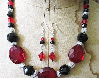 SALE Ruby Princess Crystals and Sterling Beaded Necklace and Earrings