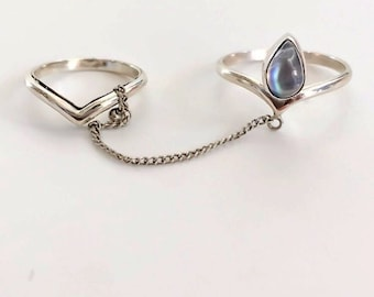 Natural Rainbow Moonstone Chain Ring, Sterling Silver Chevron midi Ring with matching ring and chain, Boho Style Ring