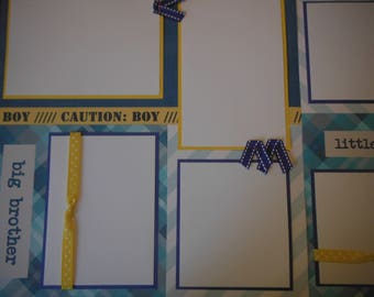 2 Big Brother Little Brother Boy 12x12 Premade Scrapbook Pages for your family
