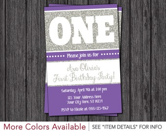 First Birthday Invitation - Purple and Silver 1st Birthday Invitations