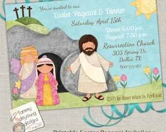 Easter Pageant Invitation, Easter Worship Invite, Religious Easter Party, Printable Easter Brunch, Easter Dinner Invite, Sunday School Evite