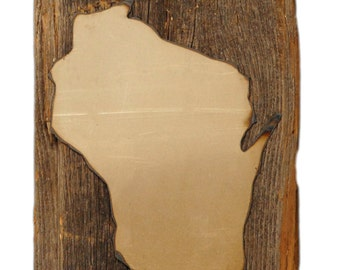 State of Wisconsin on reclaimed barn wood