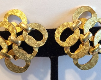 Vintage Sandor Brushed Textured Goldtone Metal Diagonal Shape Earrings