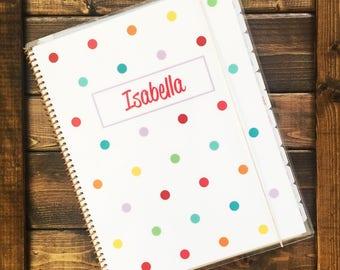 Kid Planner in Confetti, School Planner, Beginner Planner, School Supplies, Personalized Planner