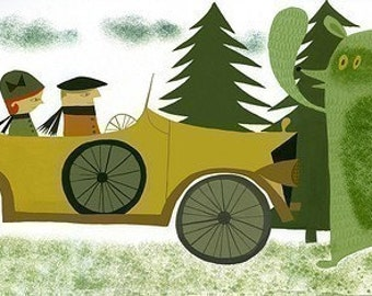 Edwin and Rosemary upon arriving at Yosemite for their honeymoon. Limited edition print by Matte Stephens