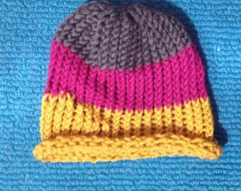 Gray, Maroon, and Gold Striped Hat