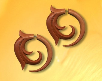 Fake Gauge, Tribal Earrings, Gia Spirals, Tropical Wood, Cheaters, Split Expanders, Tribal Earrings, Handmade, Tribal Jewelry - W14
