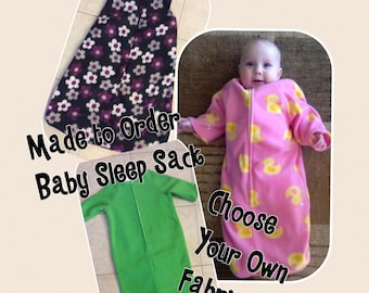 Fleece Baby Sleep Sack Fleece-Choose Your Pattern-Baby Bunting-Sleeveless and Sleeves Available