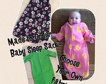 Fleece Baby Sleep Sack Fleece-Choose Your Pattern-Baby Bunting-Sleeveless and Sleeves Available