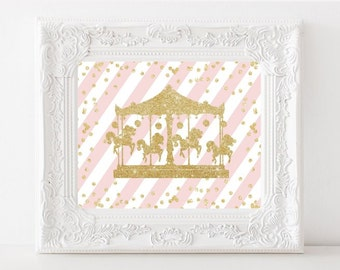 Carousel Nursery Print, Gold Glitter Printable art, Shabby Nursery Sign, Kids Room Poster Nursery Print Printable art, DIGITAL FILES