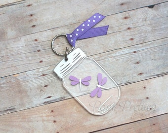 Dragonflies and Mason Jars Keychain - 3 inch Mason Jar and Dragonfly