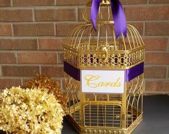Large Gold Bird Cage Wedding Card Holder, Gold Hexagon Birdcage, Wedding Card Box, Shower Decor Bird Cage Money Holder Custom