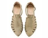 Olive sandals, Alice, Flats, Leather Sandals, Handmade, Flat Sandals by tamar shalem on etsy