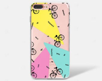 Pattern Abstract Bike 80s 90s Retro Print iPhone X Case iPhone 5S iPhone 6 iPhone 7 iPhone 7 PLUS iPhone 6 PLUS Samsung  S7 S8 Galaxy Clear