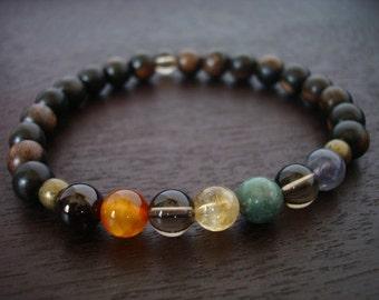 Men's Seven Chakra Mala Bracelet // Simple Chakra Mala Bracelet // Yoga, Buddhist, Meditation, Prayer Beads, Jewelry