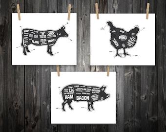 Cow, Pig, Chicken, Butcher Diagram, Butcher Chart. Kitchen Sign, Kitchen Print, Kitchen Art, Bacon Print, Kitchen Decoration - 3 Prints