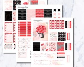 Falling in Love Printable Vertical Erin Condren Planner Stickers Kikki K Personal