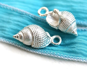 Silver shell charms Seashell beads Greek metal casting Silver coated Nautical charms 3D shell 21mm - 2pc - F064