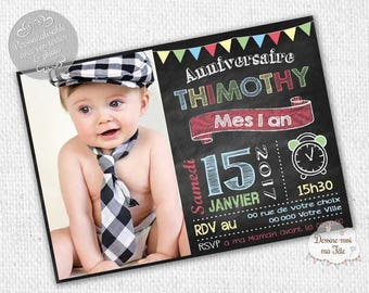 "Customizable ""slate boy"" - printable personalized Invitation birthday invitation"