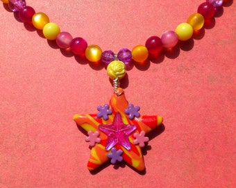 Handmade Star Pendant Necklace - Colourful beaded necklace with polymer clay pendant - tropcial colours - pink, yellow, purple and orange
