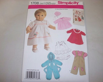 """New Simplicity 15"""" Doll Clothing Pattern, 1708  (Free US Shipping)"""