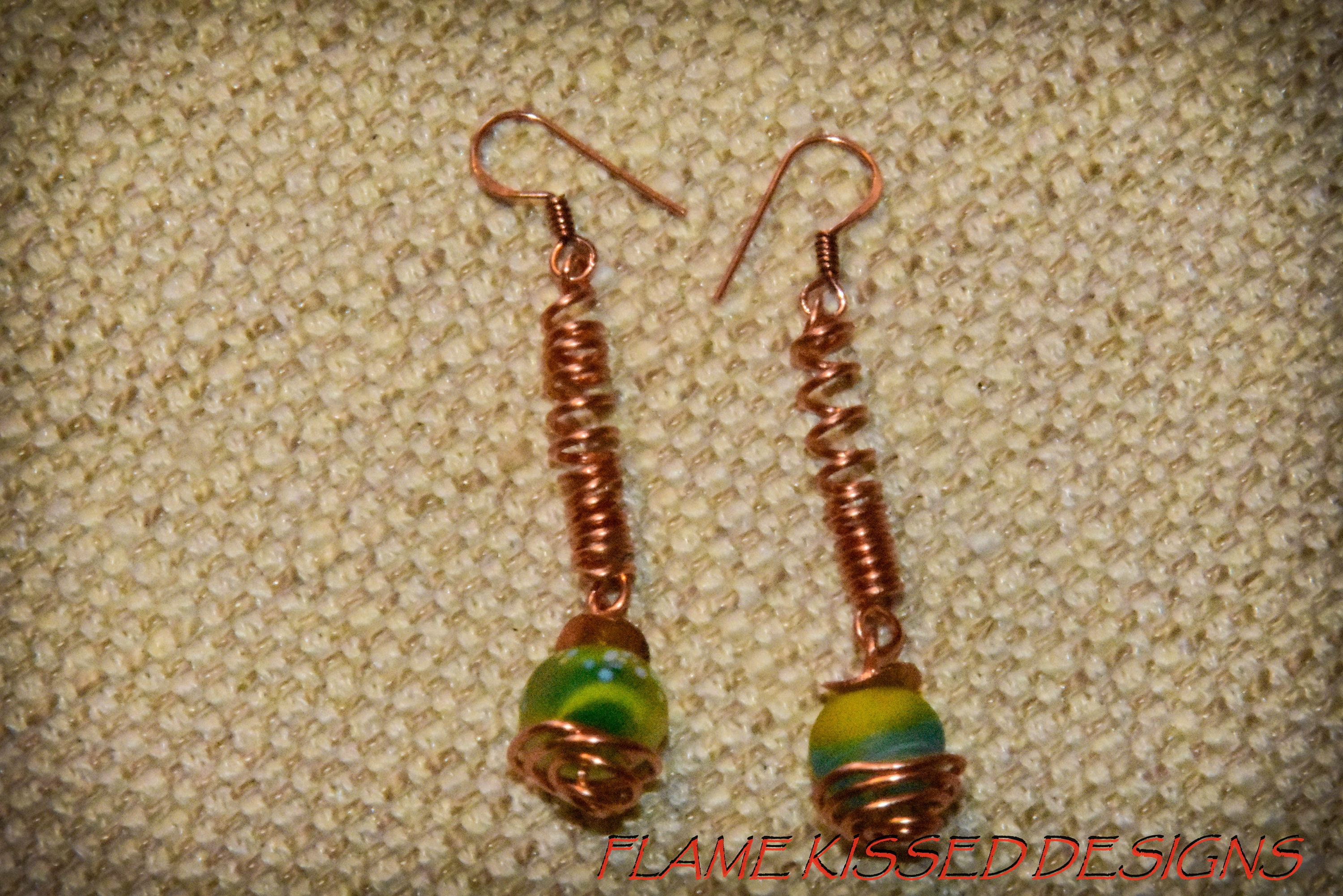 Drop Lampwork and Copper Wire Earrings