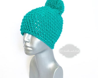 Teal Chunky Beanie with Pom, Green Crochet Hat, Dark Aqua Winter Beanie With Puff, Emerald Pom Pom Knit Hat, Bright Green Ski Cap