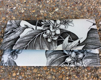 Black and White Tropical Barkcloth Envelope Clutch