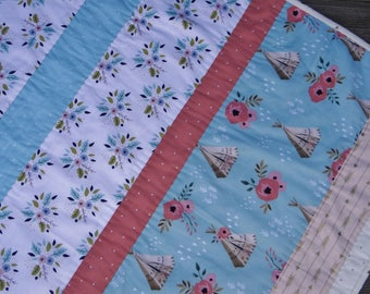 Baby Girl Quilt ~ Handmade Baby Quilt ~ Woodlands Tepee Baby Crib Quilt ~ Coral & Teal Baby Quilt ~ Tribal Baby Quilt