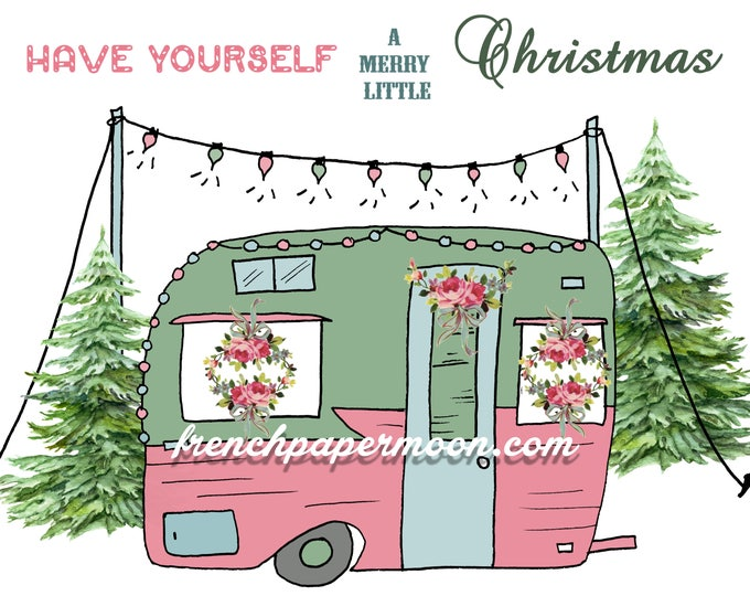 Shabby Christmas Camper Digital Printable, Vintage Christmas Trailer Camper, Retro Christmas Caravan, Instant Download Christmas Pillow