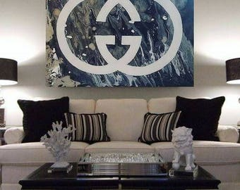 Gucci Painting, Acrylic Gucci Painting, Abstract Gucci Painting, Abstract Painting, Huge Wall Art, Gray White Abstract Painting