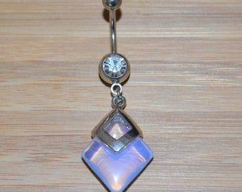 Large Square Clear Simulated Opalite Stone and Clear Double Gem Dangle Belly Button Ring Navel Body Piercing Jewelry