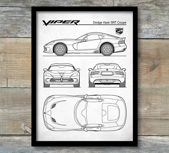 Auto Art Patent Print Dodge Viper SRT Coupe Blaupause Auto