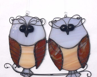 Stained Glass Suncatcher OWLS Couple Pair Birds Handmade Home decor Gift love
