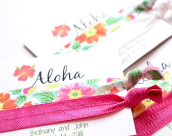 Aloha Pink Floral Hair Ties, Tropical Party Favors, Pink Floral Hair Ties, Floral Hair Ties, Tropical Hair Ties, Aloha Hair Ties