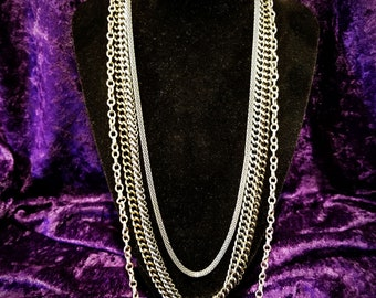 Long Silver Tone 5 Multi Strand Layered Chain Necklace