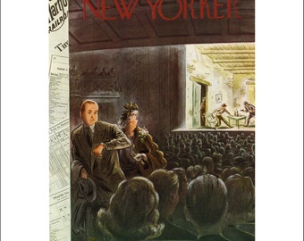 """Vintage The New Yorker Magazine Cover Poster Print Art, Alajalov, 1949 Matted to 11"""" x 14"""", Item 001, Western"""