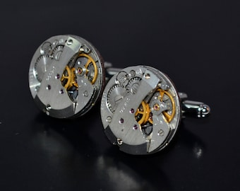 Steampunk Cufflinks watch movement cufflinks  silver cuff links vintage watch cufflinks for men silver cuff links wedding cuff links gift