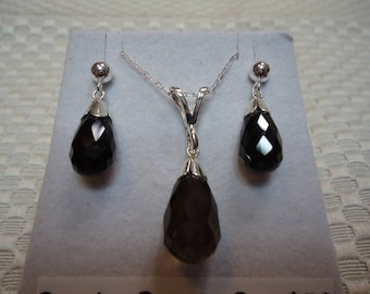 Briolette Smoky Quartz Earrings and Necklace Set in Sterling Silver  #2106