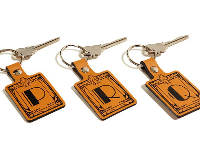 ART DECO KEYRING – Initial Key Fob – Laser Engraved Leather Keychain